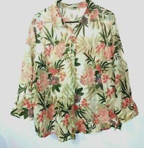 Van-Heusen-Women-039-s-Pink-Beige-Flowers-Long-Sleeve-Blouse-Sz-XXL