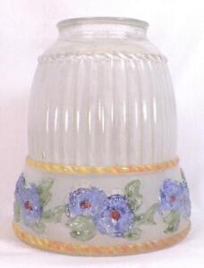 Art-Deco-Glass-Lamp-Shade-Blue-Flowers-Clear-Frosted-Reverse-Painted-Vintage