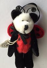 "New Boyds Bears Panda Ornament - Panda Bear in Ladybug Costume Wuzzies 3"""