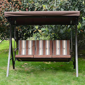 Amazing Details About 3 Person Swing Chair W Canopy Awning Garden Bench Seat Outdoor Patio Furniture Bralicious Painted Fabric Chair Ideas Braliciousco