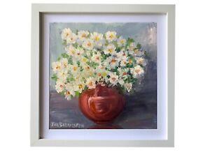 Framed-Original-oil-painting-art-Vase-of-flowers-floral-impressionism-home-decor