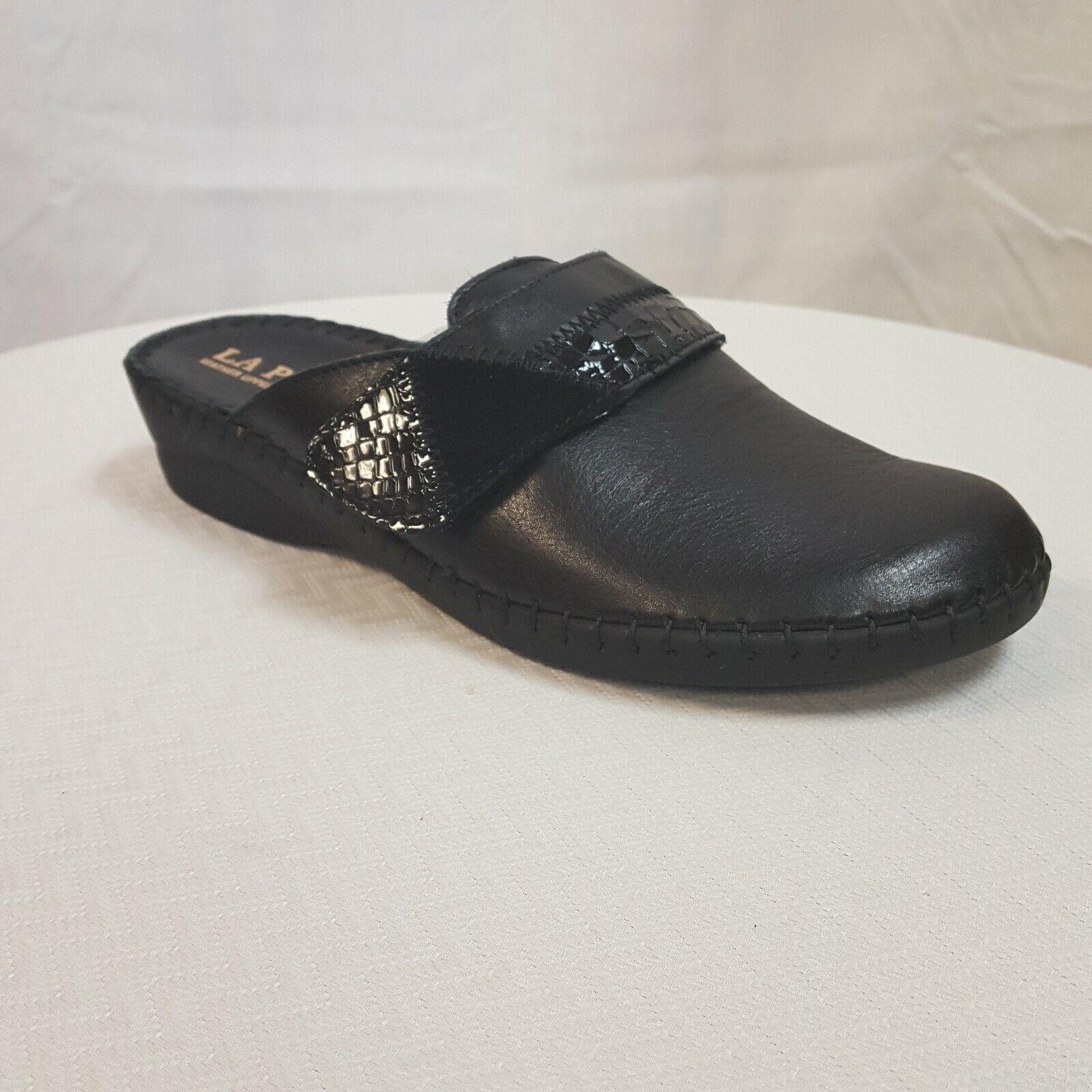 La Plume Santori Women's Black Soft Leather comfort Mule EU 40 US 9