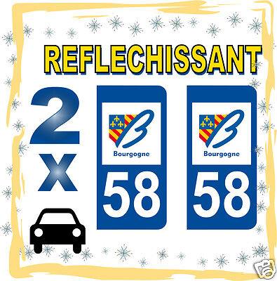 Beducht 2 Stickers Reflechissant Département 58 Rétro-réfléchissant Immatriculation Auto Hoog Gepolijst