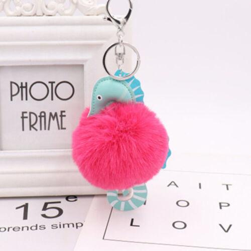 Fashion Sea Horse Shape Faux Fur Ball Key Chain Keyring Fluffy Handbag Pendants