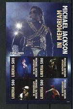 Liberia 2010 MNH Michael Jackson in Memoriam 1958-2009 4v M/S I Pop Music Stamps