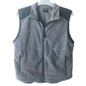 Prospirit-Active-Sport-Gray-and-Black-Fleece-Vest-Full-Zip-with-Pockets-Large