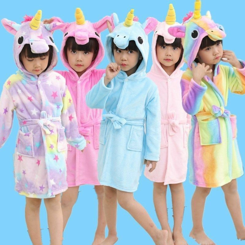 Kids Unicorn Bathrobe Sleepwear Pajamas Soft Fleece Bath Robe Boy Girl Nightwaer