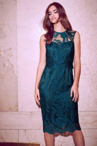 New Lipsy VIP Teal Embroidered Lace Midi Dress Sz UK 10 /& 12 regular /& petite