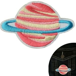 Pink-Planet-iron-on-patch-Space-Saturn-Star-Astronomy-embroidery-iron-on-patches