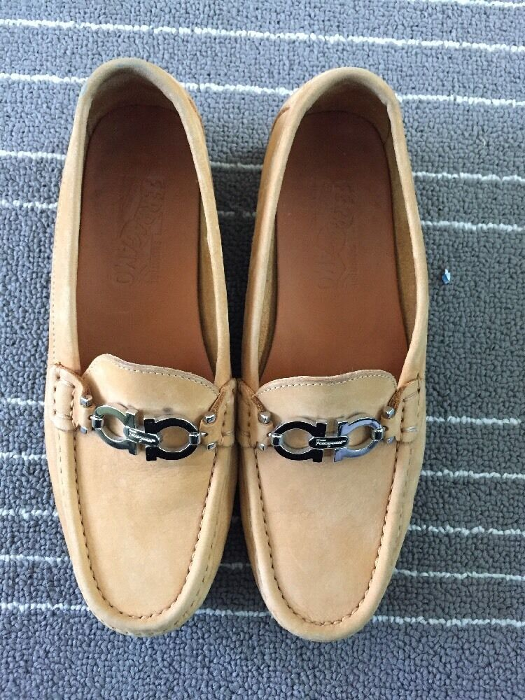 Salvatore Ferragamo Camel Tan Suede Driving Loafers Women's SZ 5 Pre Owned