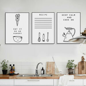 Black White Inspire Food Quotes Posters Nordic Kitchen Wall Art Canvas Paintings Ebay