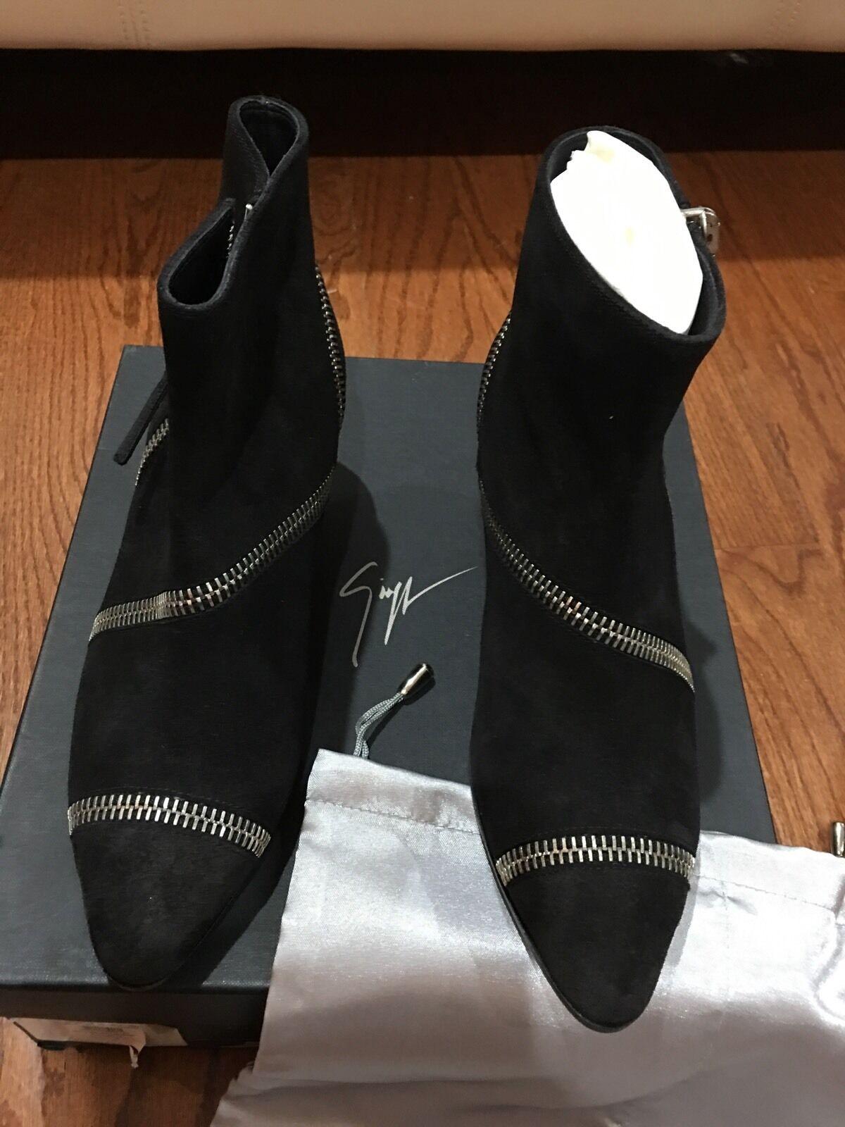 GIUSEPPE ZANOTTI black suede zip Guns 55 Blade zipper boots 38.5 / 8.5 $1175