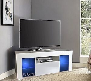 Modern Small White Matt  Gloss TV Unit 110cm Corner Led Lights ... 3a0d3e0c1a