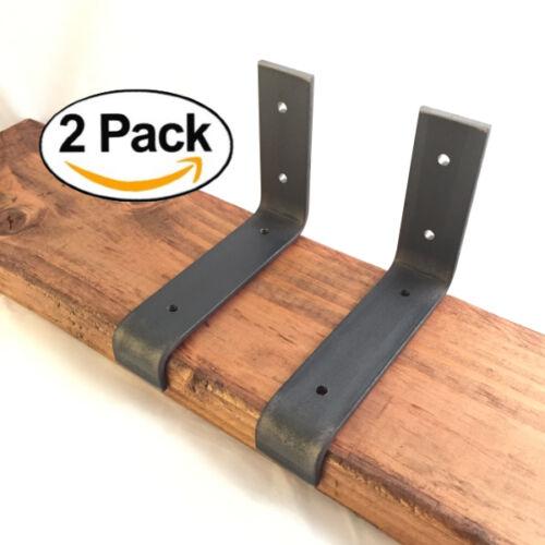 "5.5/""x4/"" Lip Shelf Brackets Angle Metal Shelve Modern Industrial Iron 2 Pack"