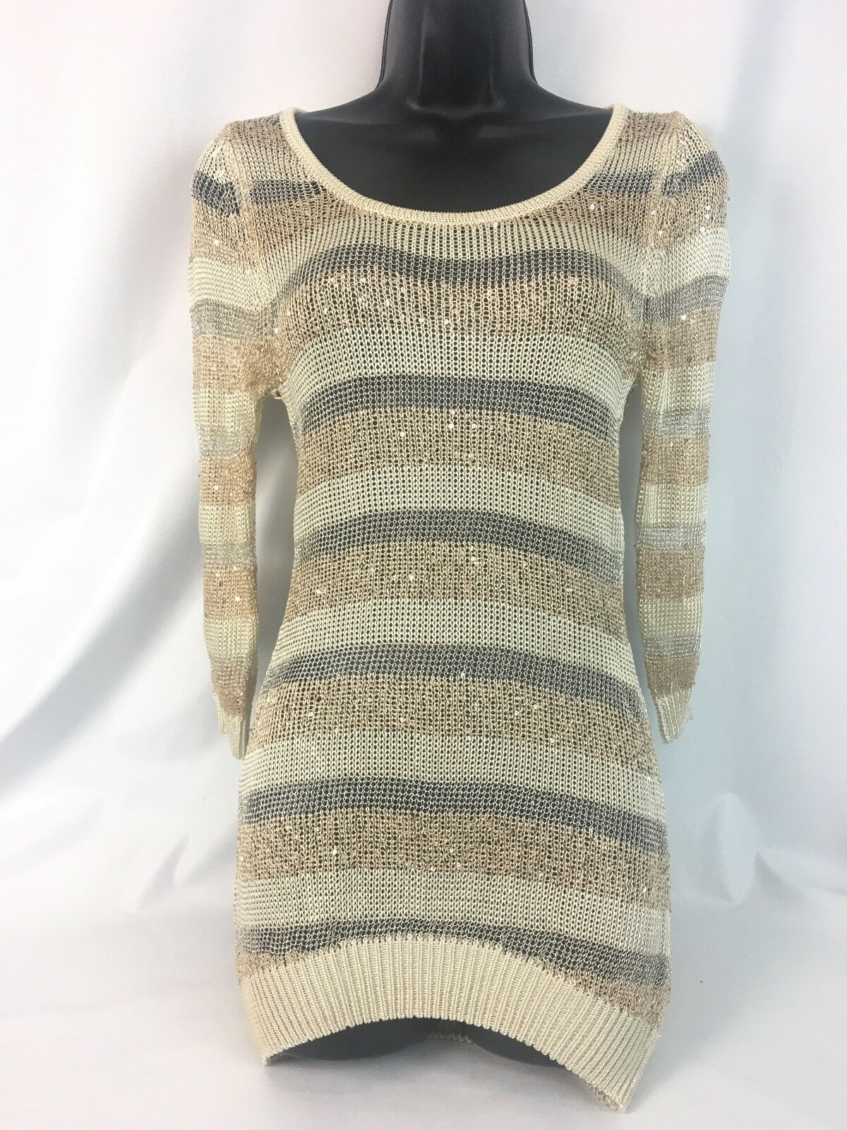 bebe  Stunning  Shogun Escape  Metallic Mix Yarn Stripe Sweater XS NWT 79.00