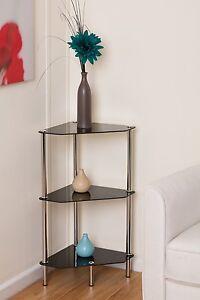 Nathan-3-Tier-Black-Glass-Display-Corner-Shelf-Book-Storage-Bathroom-Rack-GR13B