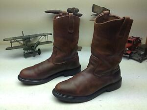 c9fced340d3 Details about DISTRESSED VINTAGE MADE IN USA RED WING BROWN OIL RIG  ENGINEER BOOTS SIZE 10.5 D