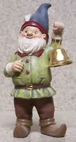 Garden Accent Large Freestanding Gnome With A Bell 7 3/4 Tall