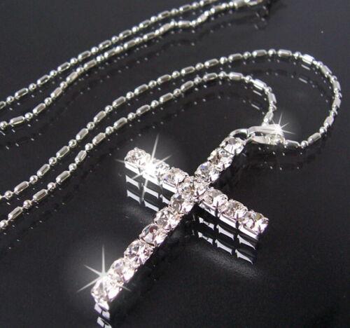 Halskette Kreuz Anhänger Strass Silber pl Kreuzkette 46cm Kette Schmuck K928