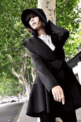 Womens Korean Slim Fit Belt Hooded Pleating Long Trench Coat Loose Overcoat Top