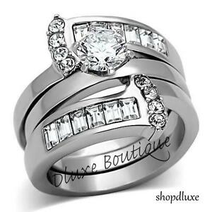 Women-039-s-Round-Cut-Silver-Stainless-Steel-AAA-CZ-Wedding-Ring-Band-Set-Size-5-10