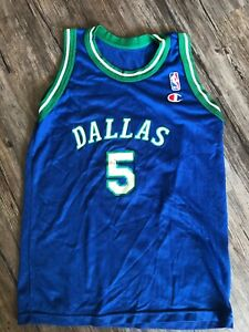 size 40 1ad5e fe312 Details about Vintage Champion Dallas Mavericks Jason Kidd Jersey Kids M #5  Blue Green Youth
