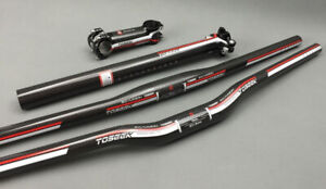 Carbon-Fiber-MTB-Bike-Handlebar-Flat-Riser-Bar-amp-Seatpost-amp-Bicycle-Bar-Stem-Set