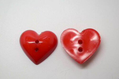 B921 24mm 5pcs LARGE HEART 2 HOLES PLASTIC ITALIAN BABY BUTTONS FLAT ON BACK