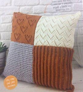 Oversized Patchwork Cushion Cover Aran KNITTING PATTERN - 66x66cm eBay