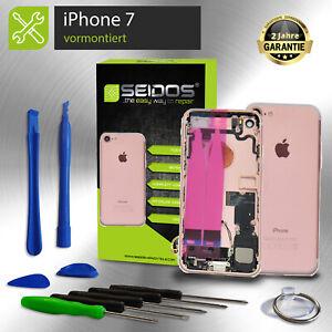 Backcover-fuer-iPhone-7-in-Rose-Gold-VORMONTIERT-Gehaeuse-Rueckseite-Tasten