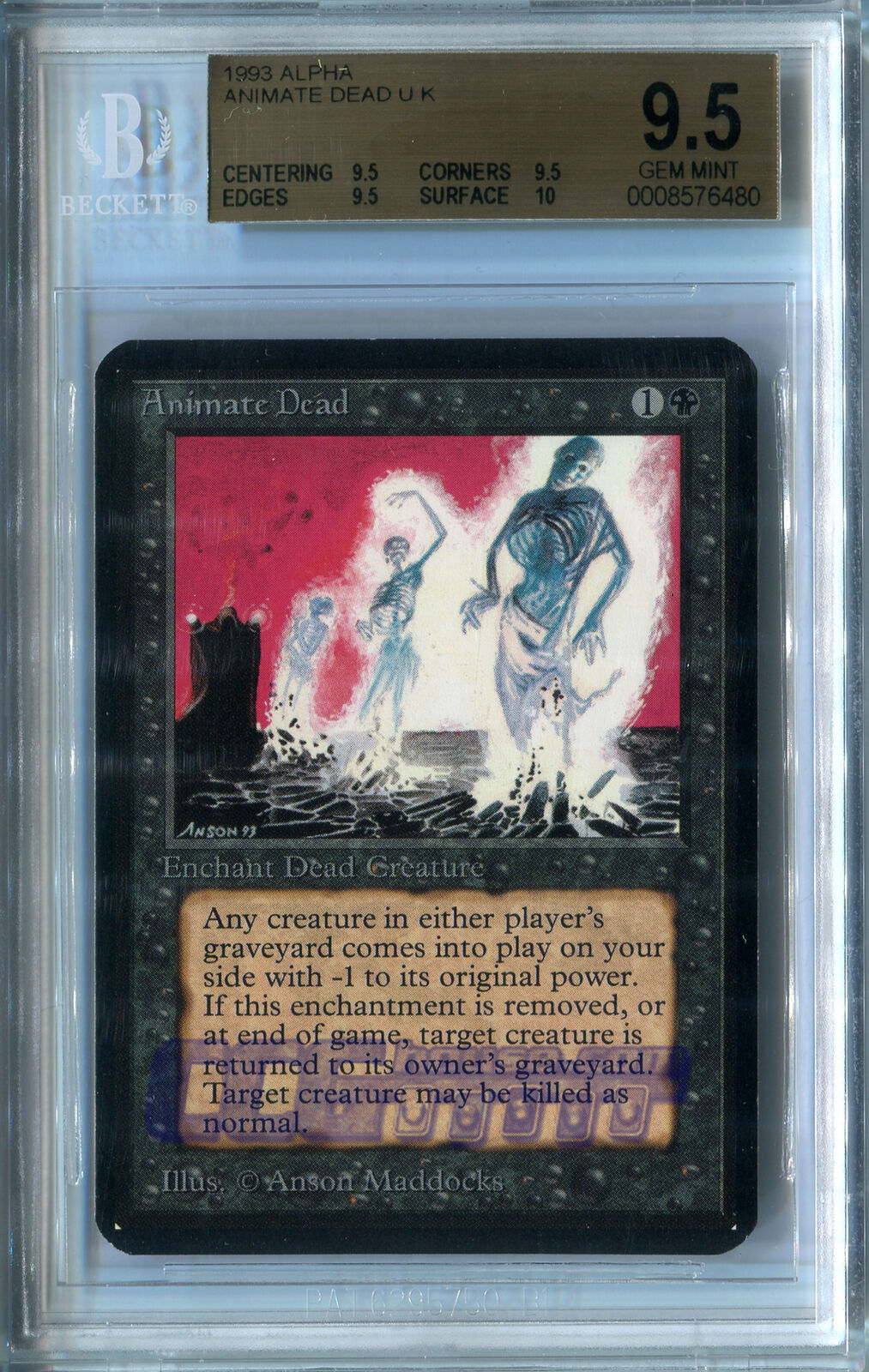 Animate Dead (Alpha) - BGS GEM MINT 9.5 (QUAD w10 sub) MTG CCGHouse Magic