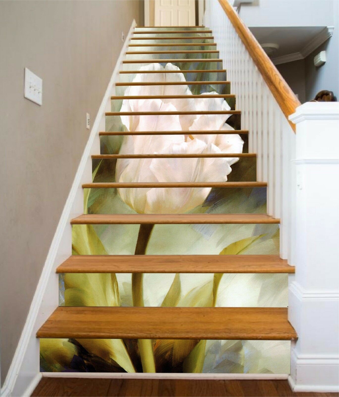 3D Weiß flower 32 Stair Risers Decoration Photo Mural Vinyl Decal Wallpaper UK