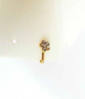 Gold Plated Stud Nose Ring Ear Nose Fake Clip Non Piercing Indian