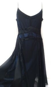 Coast-Silk-Black-Lacy-Overlay-Fit-N-Flare-Dress-16-Blue-Accents-Party-Dress