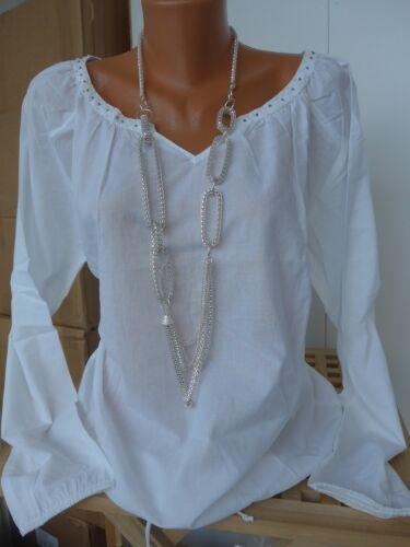 Aniston Bluse Tunika Shirt Gr 34-44 weiß mit Pailletten NEU 706