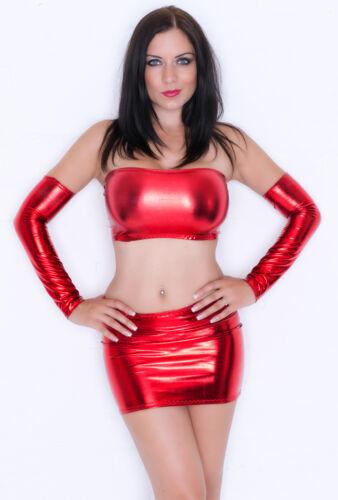 Mini Skirt Metallic RED Shiny Lycra Bodycon Party Club Dancer PVC Wet Look S132