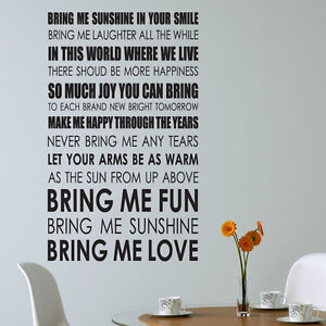 Image Is Loading Bring Me Sunshine Wall Art Sticker Lyrics Decal  Part 34