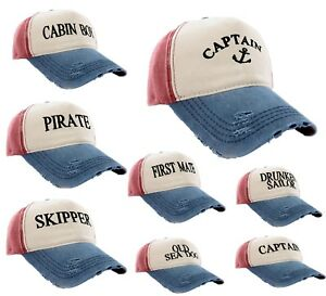 Baseball-Cap-Boating-Hat-Men-Women-Captain-Skipper-Wreck-Pirate-Drunk-Sailor-LA