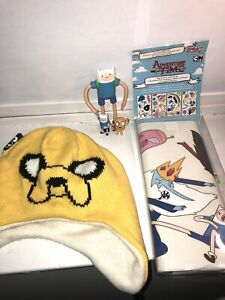 Cartoon Network Adventure Time Figure Lot Of 3 Jake Finn Hat Beanie Wall Decal
