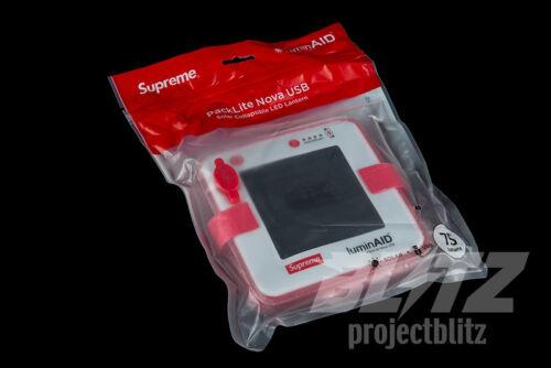 SUPREME LUMINAID PACKLITE NOVA USB SS18 2018 ACCESSORY BOX LOGO RED WHITE