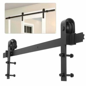 6 6ft rail porte coulissante quincaillerie de grange kit roller pour portes bois ebay. Black Bedroom Furniture Sets. Home Design Ideas