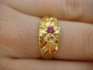 18K-YELLOW-GOLD-DOME-FLOWER-DESIGN-LADIES-RING-3-1-GRAMS-SIZE-6-75