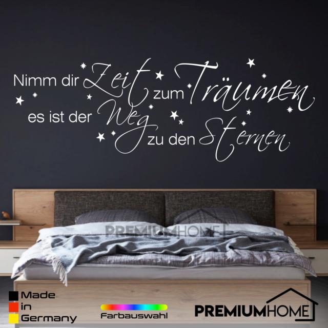 Wandtattoo Spruch Zeit Traumen Weg Sterne Aufkleber Sticker Schlafzimmer Bett Ebay