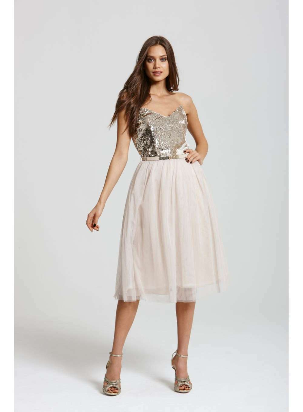 Little Little Little Mistress Heavily Embellished  Prom Dress 14  Cream Gold | Online Outlet Shop