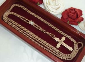 ANTIQUE VICTORIAN 10K ROSE GOLD SLIDE w GF WATCH CHAIN NECKLACE & PEARL CROSS