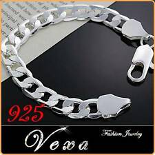 New Mens 925 Sterling Silver 10mm Bracelet Charm Bangle Solid Link Chain UK BS17