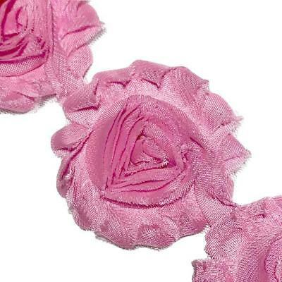 "1//2 yard pink 2.5/"" shabby chiffon rose trim flowers DIY baby headband"