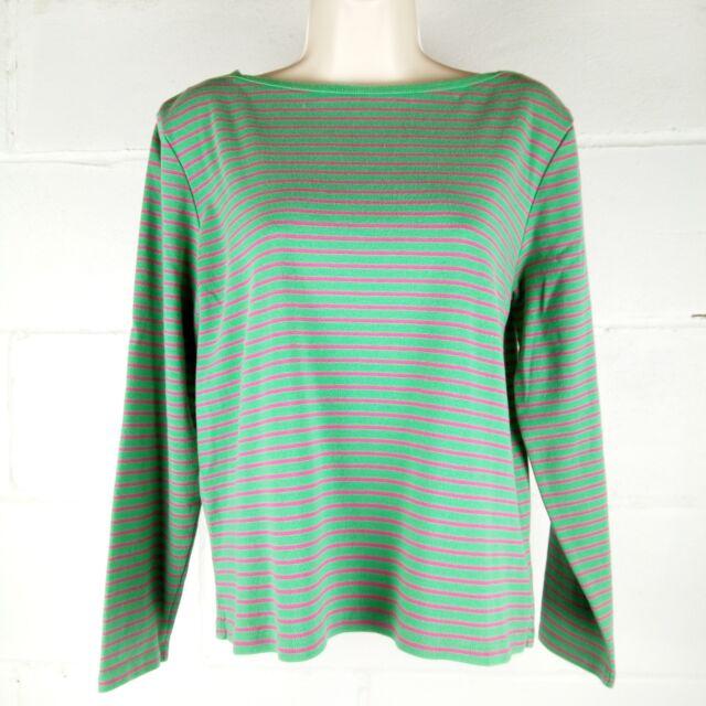 Lauren Ralph Lauren Blouse Women Size L Green Striped Long Sleeve