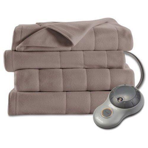Sunbeam Fleece Heated Blanket Queen Mushroom   Tan 2 Controllers NEW