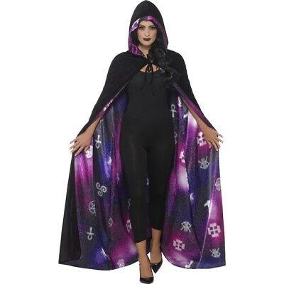Deluxe reversibile Galaxy Ouija Mantello ADULTO DONNA HALLOWEEN FANCY DRESS